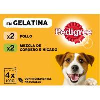 Alimento de pollo-cordero para perro PEDIGREE, pack 4x100 g