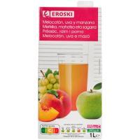Bebida de melocotón-manzana-uva EROSKI, brik 1 litro