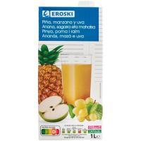 Bebida de piña-manzana-uva EROSKI, brik 1 litro