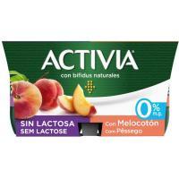 Bífi Activia sin lactosa 0% melocotón DANONE, pack 4x125 g