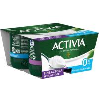 Bifi Activia sin lactosa 0% natural edulco. DANONE, pack 4x125 g