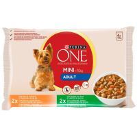 Alimento de pollo perro adulto PURINA One My Dog, pack 4x100 g