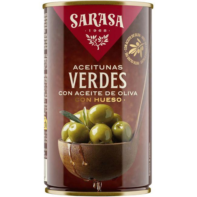 Aceitunas verdes con aceite de oliva SARASA, lata 185 g