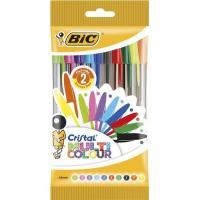 Bolígrafo punta 1.6mm, 10 colores de tinta diferente Cristal Multicolor BIC, 10uds