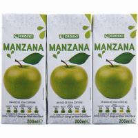 Zumo de manzana EROSKI, pack 3x200 ml