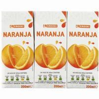Zumo de naranja EROSKI, pack 3x200 ml