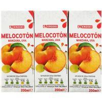 Zumo de melocotón EROSKI, pack 3x200 ml