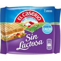 Queso sin lactosa EL CASERIO, lonchas, sobre 185 g