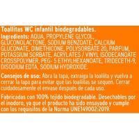 Toallitas wc infantil biodegradable EROSKI, pack 2x60 uds.