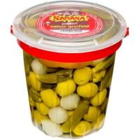 Popurrí de aceitunas-encurtidos SARASA, tarrina 450 g