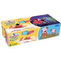 Yogur de fresa-plátano CLESA Crecimiento, pack 8x120 g