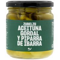 Aceitunas gordal con guindilla de Ibarra ZUBELZU, frasco 140 g