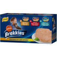 Alimento de salmón-buey-pollo para gato BREKKIES, pack 6x100 g