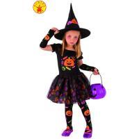 Disfraz infantil Bruja Candy: vestido, medias, mitones,gorro, Talla 5-7 años, 1ud