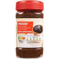 Café soluble descafeinado EROSKI, frasco 100 g