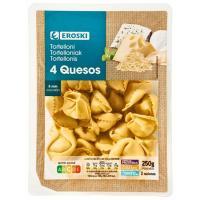Tortellini 4 quesos EROSKI, bandeja 250 g