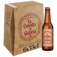 Cerveza Pilsen ESTRELLA GALICIA, pack botellín 6x33 cl