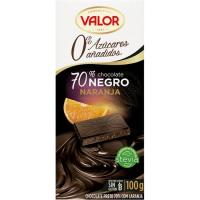 Chocolate 70% naranja sin azúcar VALOR, tableta 100 g