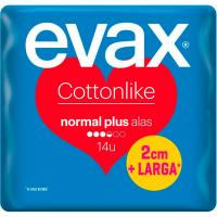 Compresas normal plus con alas EVAX Cottonlike, paquete 14 unid.