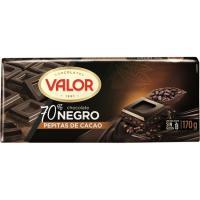 Chocolate 70% con pepitas VALOR, tableta 170 g