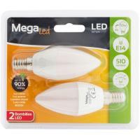 Bombilla Led vela E14 6/7W luz cálida MEGALED, 2uds