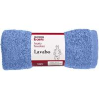 Toalla de lavabo azul 100% algodón 380gr/m2 EROSKI, 50x80cm