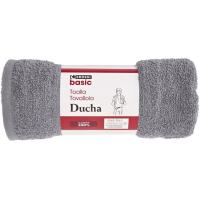 Toalla de ducha gris oscuro 100% algodón 380gr/m2 EROSKI, 70x120cm