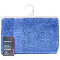 Toalla de tocador azulon 100% algodón 420gr/m2 EROSKI, 30x50cm