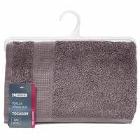 Toalla de tocador gris antracita 100% algodón 420gr/m2 EROSKI, 30x50cm