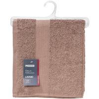 Toalla de lavabo marron 100% algodón 420gr/m2 EROSKI, 50x90cm