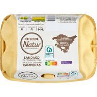 Huevo campero País Vasco M/L EROSKI Natur, cartón 6 uds
