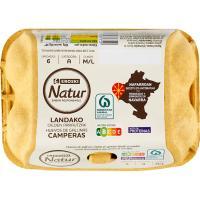 Huevo campero Navarra M/L EROSKI Natur, cartón 6 unid.
