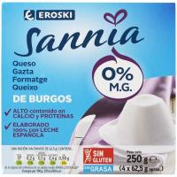 Queso fresco 0% EROSKI Sannia, pack 4x62,5 g