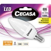 Bombilla Led vela E14 7,5W luz cálida (2700k) CEGASA, 1ud