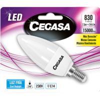 Bombilla Led vela E14 7,5W luz fría (5000k) CEGASA, 1ud