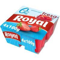 Gelatina de fresa 10 kcal 0% azúcar añadido ROYAL, pack 4x100 g