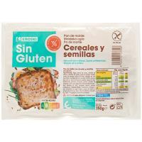 Pan de molde cereales-semillas sin gluten EROSKI, paquete 350 g