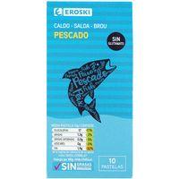 Caldo de pescado natural EROSKI, 10 pastillas, caja 100 g