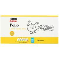 Caldo de pollo 24 pastillas EROSKI basic, caja 216 g