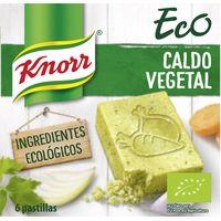 Caldo vegetal ecológico KNORR, 6 pastillas, caja 60 g