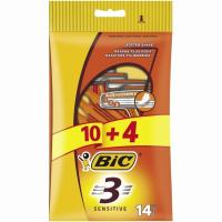 Maquinilla desechable BIC 3 Sensitive, pack 10+4 uds.