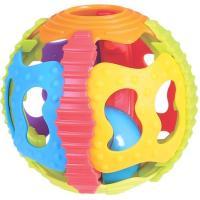 Pelota con sonajero y distintas texturas que estimulan la vista y el tacto PLAYGRO