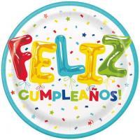 Platos cumpleaños  PARTYGRAM, 23cm, 8uds