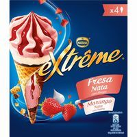 Cono Extreme de fresa-nata NESTLÉ, pack 4x70 g