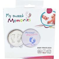 Baby  Prints azul, huella de bebé en arcilla blanca, regado ideal para padres, abuelos ...BABY ART