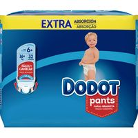 Pants + 16 kg Talla 6 Extra DODOT, paquete 32 unid.