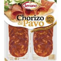 Chorizo de pavo CARNICAS SERRANO, bandeja 100 g