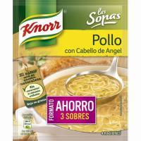 Sopa de pollo con cabello de ángel KNORR, pack 3x71 g