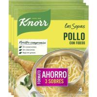 Sopa de pollo con fideos KNORR, pack 3x63 g
