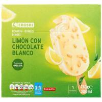 Bombón limón con chocolate blanco EROSKI, caja 210 g